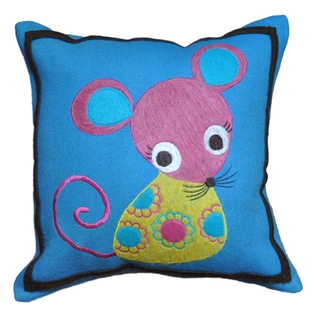 Cute Petite Mouse Wool 12x12-inch Decorative Accent Pillow