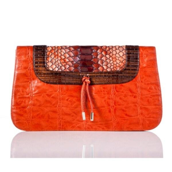 Vintage Reign 'Lenny' Orange Leather Clutch