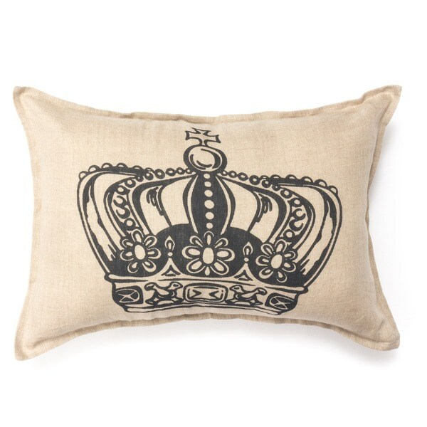King Crown Print Decorative Small Bolster Pillow - Khaki