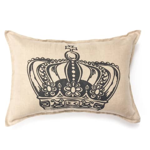Cottage Home King Crown Print Linen 14 x 20 Throw Pillow