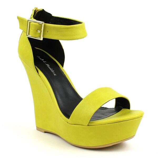 Mark & Maddux Women's 'SHIA-03' Yellow Open-toe Basic Wedge Heels