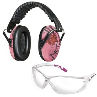 Mossy Oak Lula Pink Camo Ear Muffs and Glasses Set