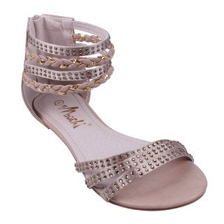 Machi by Beston Women's 'ANGELINA-2' Flat Gladiator Thong Sandals