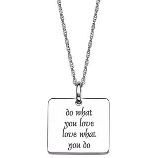 Sterling Silver Life Sentiment Square Necklace