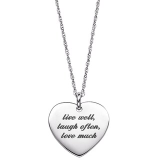 Sterling Silver Life Sentiment Heart Necklace