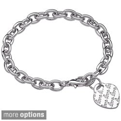 Silvertone 'Lots of Love' Heart Initial Charm Bracelet