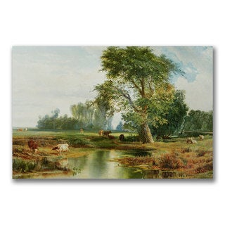 Thomas Moran 'Cattle Watering' Canvas Art