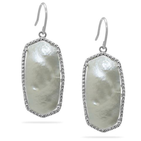 Gioelli Sterling Silver Mother of Pearl Hexagon-shaped Earrings
