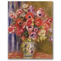 Pierre Renoir 'Vase of Tulips and Anemones' Canvas Art - Multi