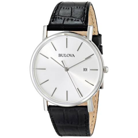 Bulova Men's Black Leather Strap Date Watch