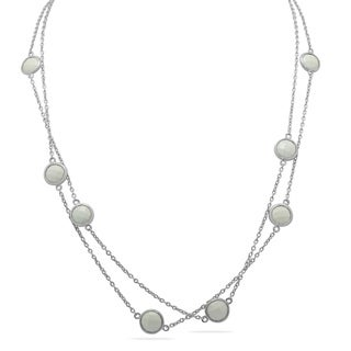 Gioelli Sterling Silver White Agate Checkerboard Station Necklace
