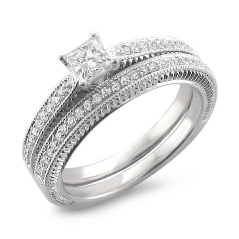 Montebello 14KT Gold 5/8ct TDW Princess-cut Diamond Bridal Ring Set