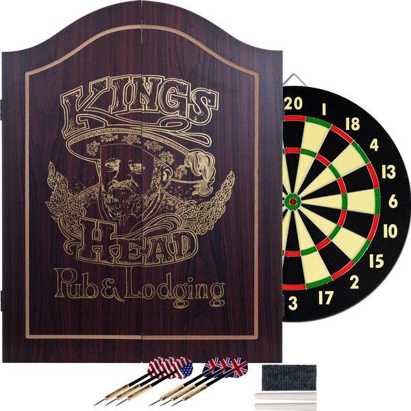 Trademark Games Kingu0027s Head Value Dartboard Cabinet Set