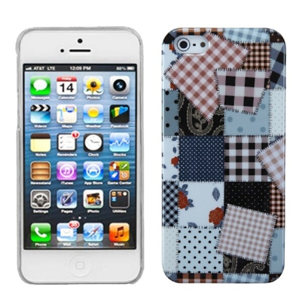 INSTEN Patchwork Cloth Puzzle Phone Case for Apple iPhone 5/ 5S/ SE
