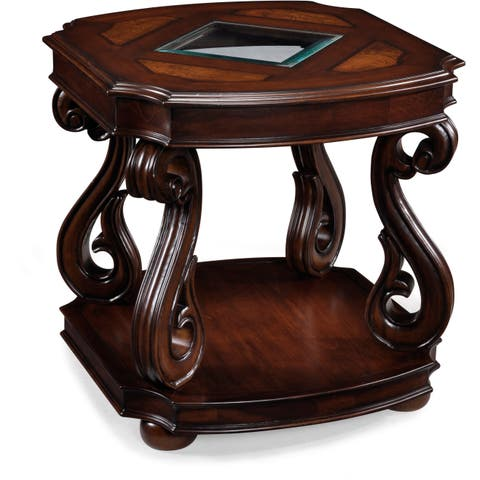 Harcourt Traditional Neo-Italian Cherry Rectangular End Table - 24 x 26 x 24