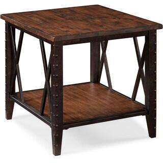 Fleming Industrial Rustic Pine Wood and Metal End Table
