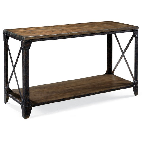 Pinebrook industrial distressed natural pine wood entryway for 65 sofa table