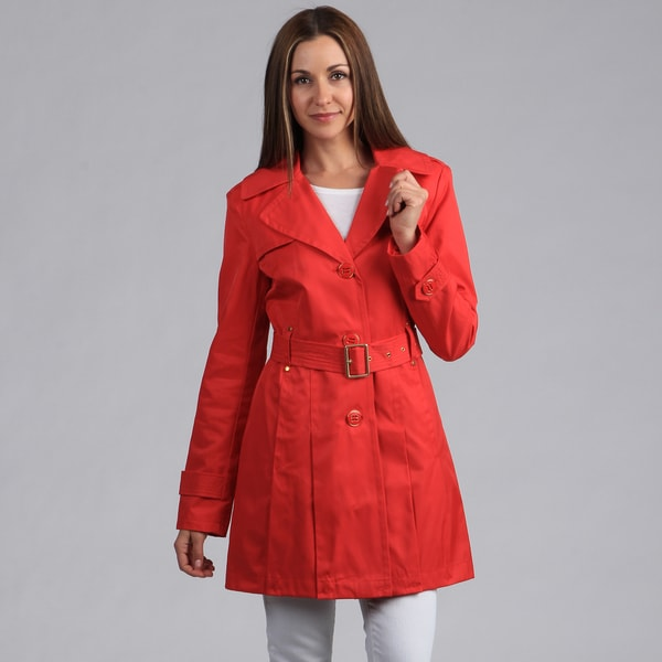 Kenneth Cole Women's Belted Button Front Trench Coat