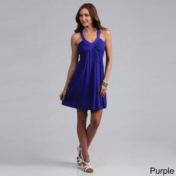 Calvin Klein Women's Sleeveless Ruched V-neck Dress