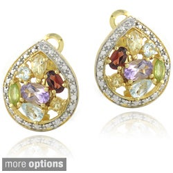 Glitzy Rocks Two-tone Multi-gemstone and Diamond Accent Teardrop Earrings