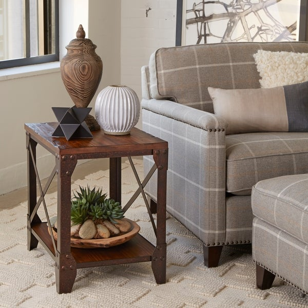 Carbon Loft Michael Distressed Pine Wood End Table