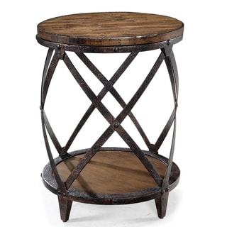 'Pinebrook' Natural Pine Crosshatch Round End Table