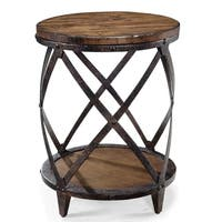 Pinebrook Industrial Distressed Natural Pine Round Accent Table