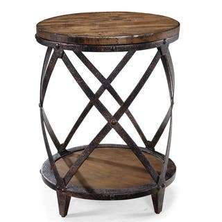 pine canopy canova distressed pine wood round end table - Distressed End Tables