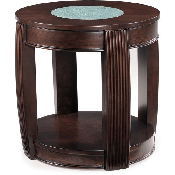 shop ino wood and glass oval end table free shipping today overstock 8019899. Black Bedroom Furniture Sets. Home Design Ideas