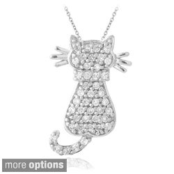 Icz Stonez Silver Cubic Zirconia Cat Necklace
