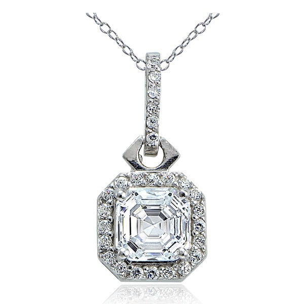 Icz Stonez Sterling Silver Asscher-cut Cubic Zirconia Square Halo Necklace. Opens flyout.