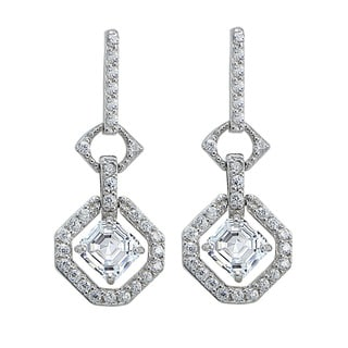 Icz Stonez Sterling Silver Asscher Cut Cubic Zirconia Dangle Earrings