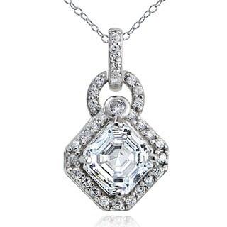 Icz Stonez Sterling Silver Asscher-cut Cubic Zirconia Necklace