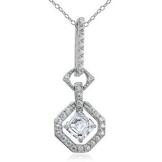 Icz Stonez Sterling Silver Asscher-cut Cubic Zirconia Halo Necklace