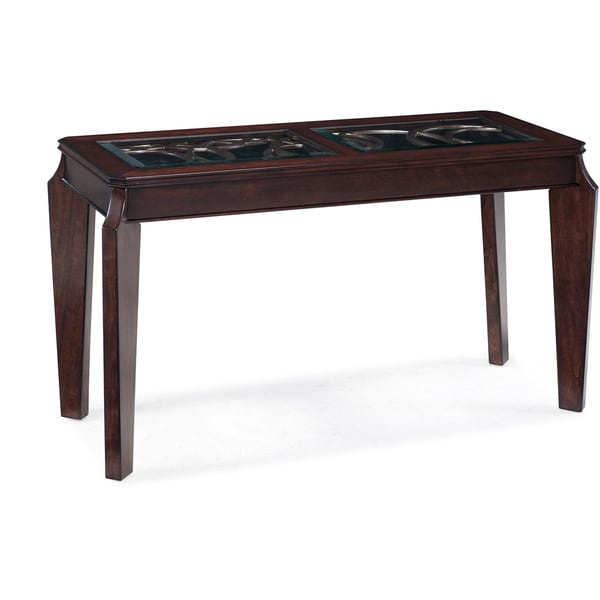 Ombrio Cherry Finish Glass Top Rectangular Sofa Table