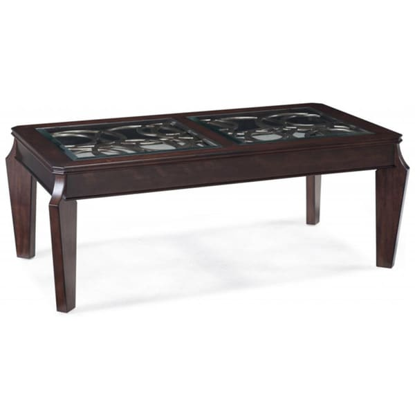 Harper Transitional Ebony Oval Coffee Table with Glass Top