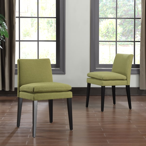 Handy Living Orion Apple Green Linen Upholstered Dining Chairs (Set of 2)