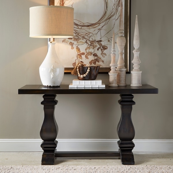 Rossington Traditional Weathered Ebony Entryway Console Table