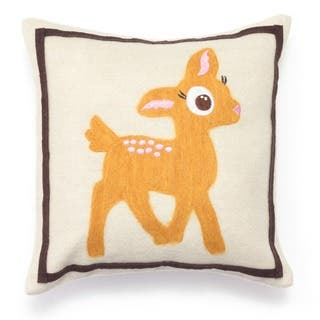 Cute Pee Deer Wool Decorative 12x12 Inch Accent Pillow