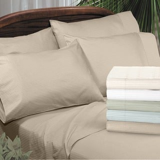 Grand Luxe Amalfi Dobby Stripe Egyptian Cotton 310 Thread Count Deep Pocket Sheet Set