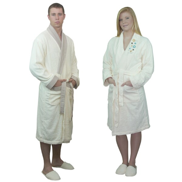 Brielle Home Turkish Rayon from Bamboo Cotton 8-piece His & Hers Ivory Bath Robe Gift Set