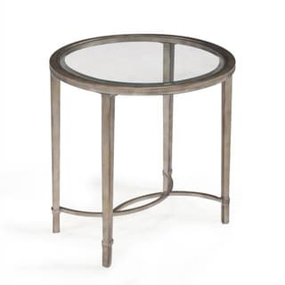 Copia Antique Silver Glass-top Oval End Table