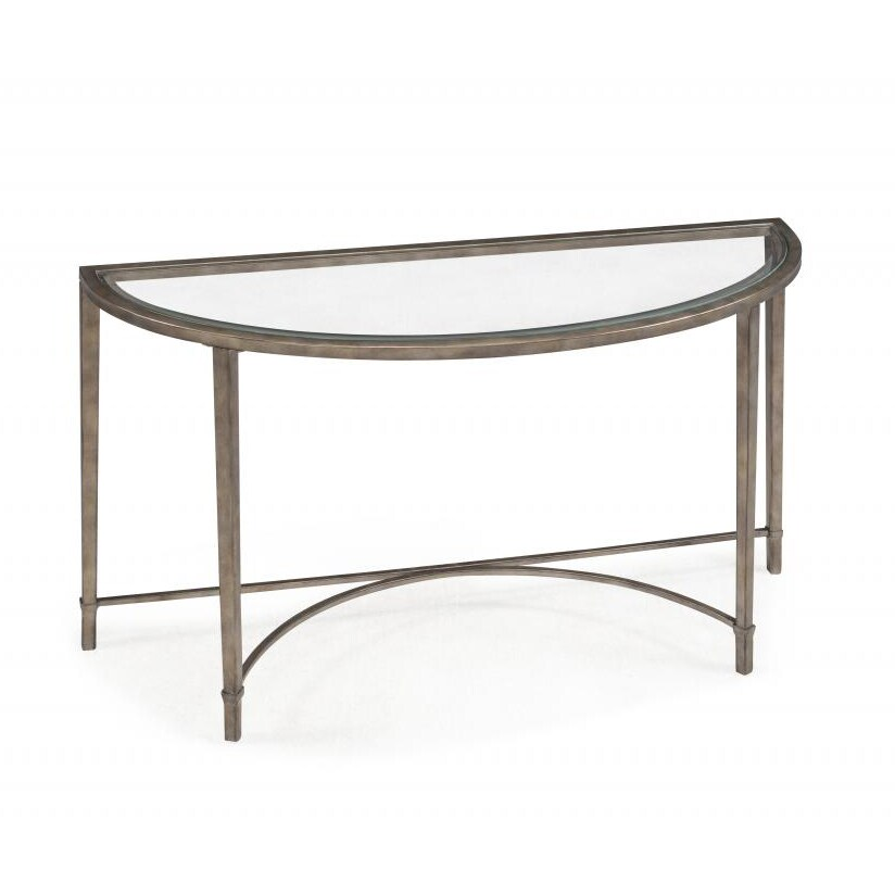 Copia Contemporary Gold Tinted Antique Silver Demilune Console Table