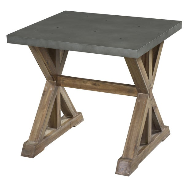 Lybrook Urban Zinc Top Weathered Oat Trestle End Table