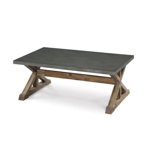 Lybrook Urban Zinc Top Weathered Oat Trestle Coffee Table