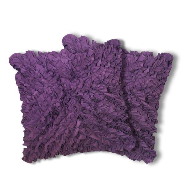 Lush Decor Plum Geometric Ruffled Throw Pillows (Set of 2)