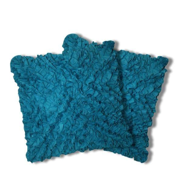 lush decor turquoise geometric ruffled down throw pillows set of 2 - Turquoise Decorative Pillows