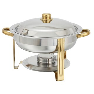 FortheChef Metropolitan 4 Qt. Round Stainless Steel Chafer with Gold Accents