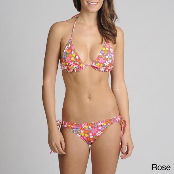On Shore 2-piece Flower/ Fruit Ruffle Trim Bikini Swimsuit