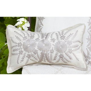 'Ava' Ivory Cotton 14x20-inch Floral Embroidered Pillow